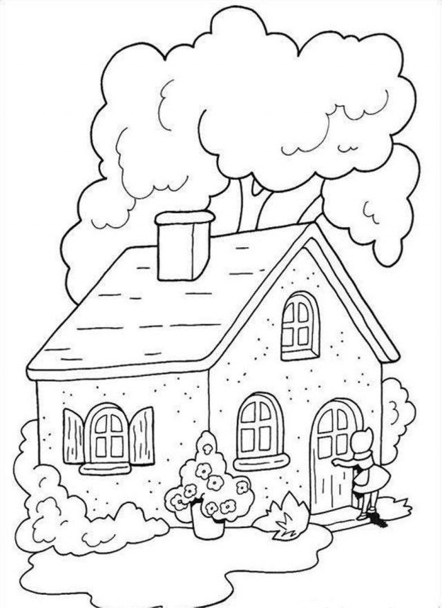 Little Red Ridin Hood Warm Home Coloring Page Coloringplus 149904