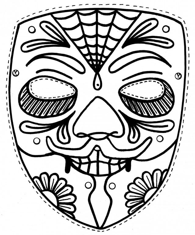 Day Of The Dead Skull Coloring Pages AZ