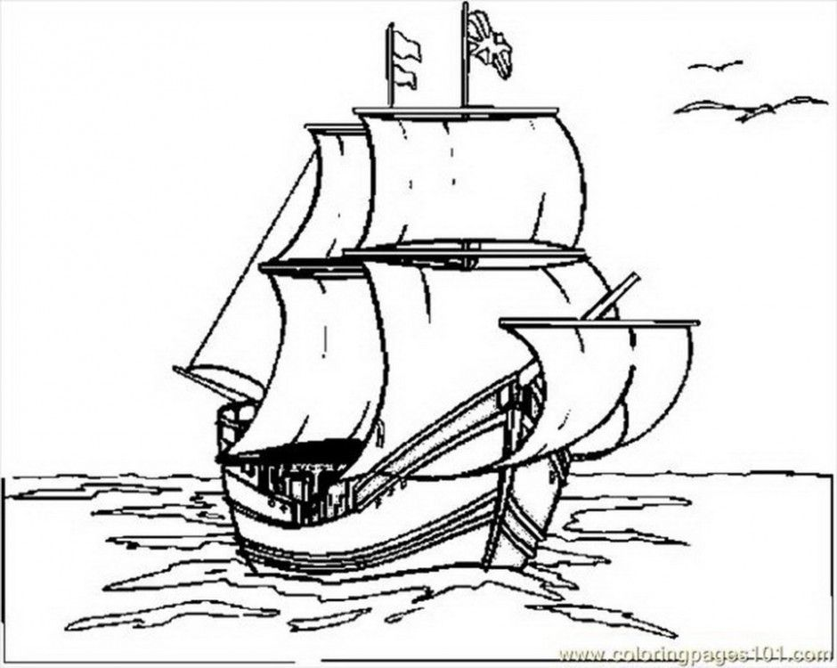 Mayflower Coloring Pages - Coloring Home