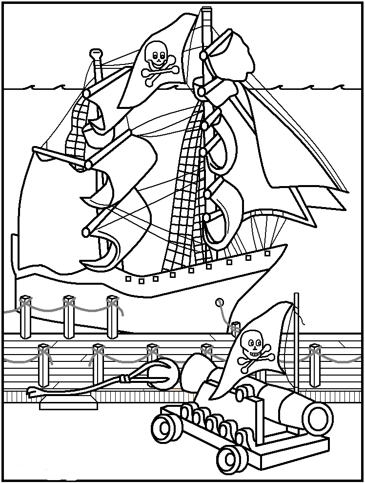 cannon of pirates coloring page image coloring pages