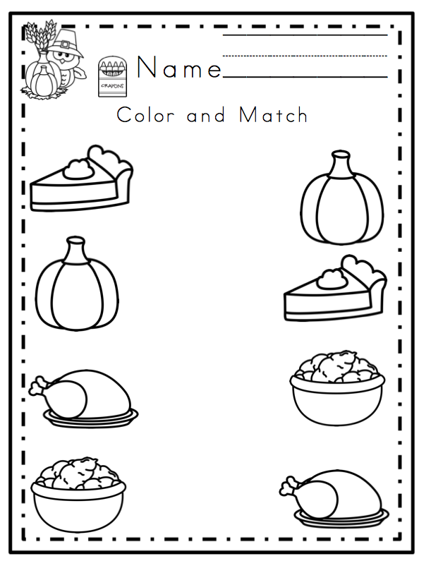 Free Preschool Worksheets For Thanksgiving