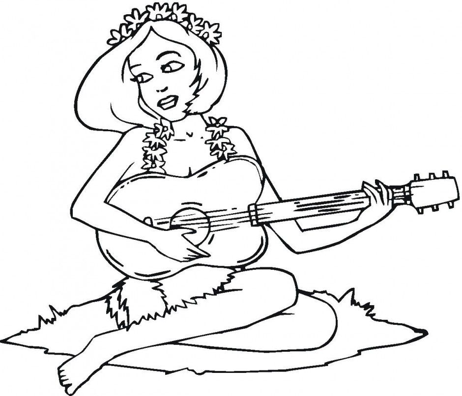 Guitar Coloring Pages Pdf : Hawaiian girl playing the guitar coloring page home