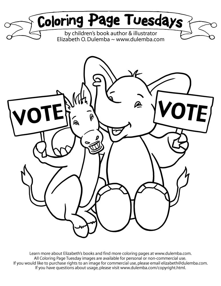 dulemba: Coloring Page Tuesday - VOTE!!! (and how the Electoral