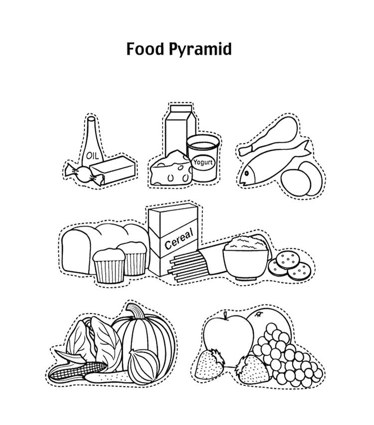 Food Pyramid With Fruit And And Other Coloring Page For Kids