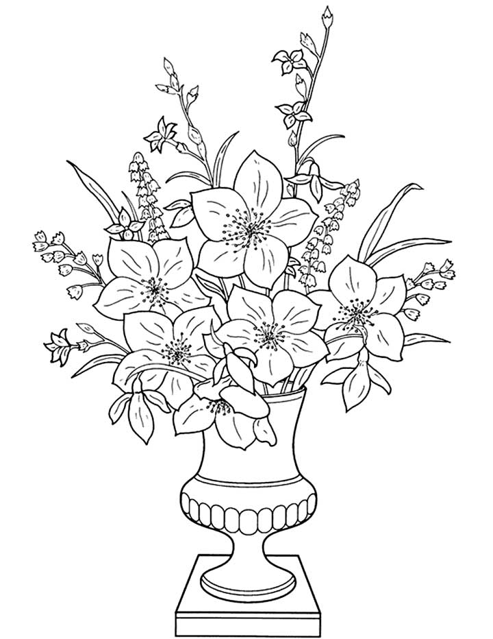 Flowers in a Vase - Coloring Page for Kids - Free Printable Picture