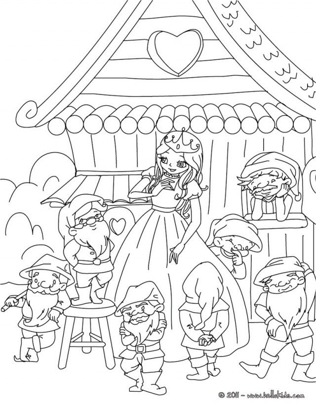 GRIMM Fairy Tales Coloring Pages Little Snow White And The 7