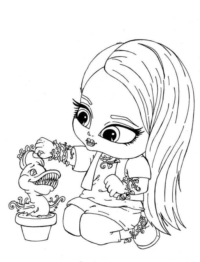 Print Venus McFlytrap Little Girl Monster High Coloring Page or