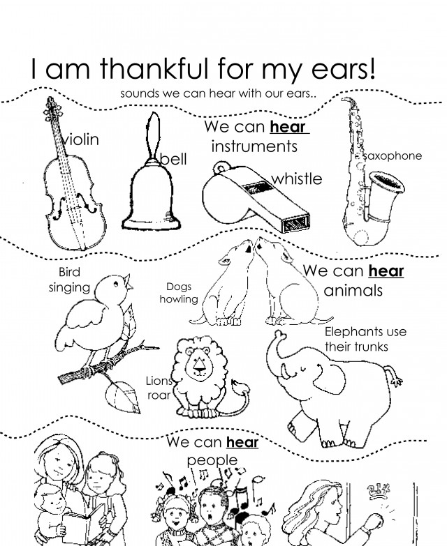 i m thankful for coloring pages - i am thankful for my ears lds lesson ideas 135599