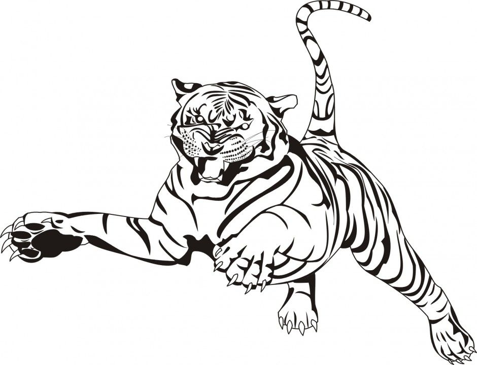 Realistic Tiger Coloring Pages Coloring Home