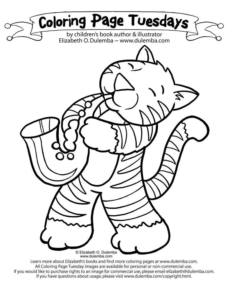 dulemba: Coloring Page Tuesday - Jazz Cat