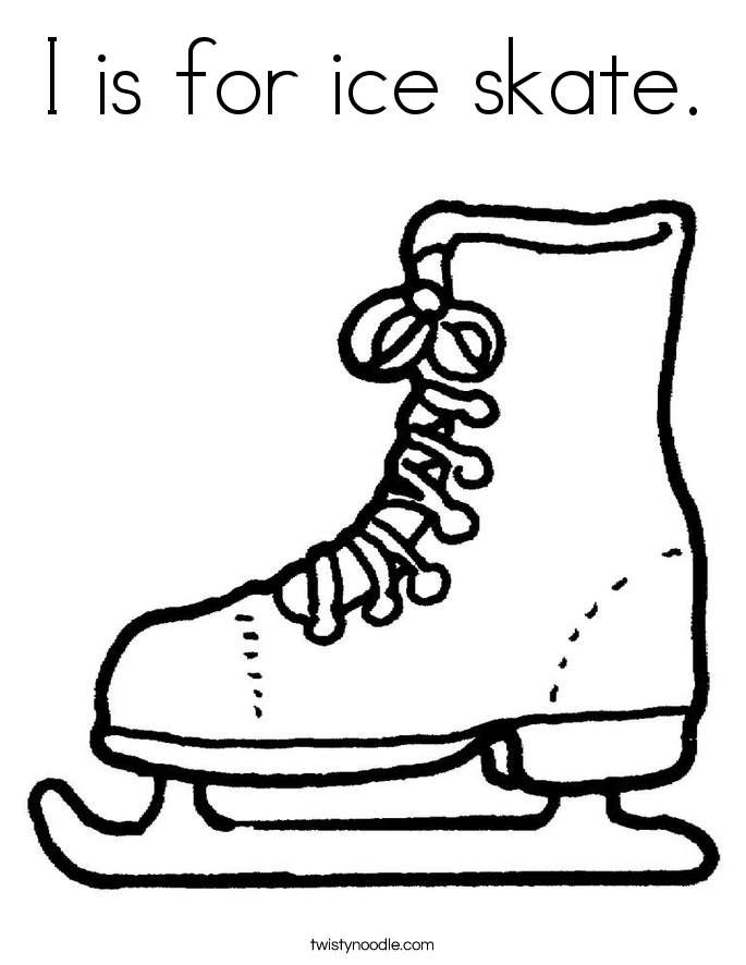Ice Skate Outline - Coloring Home