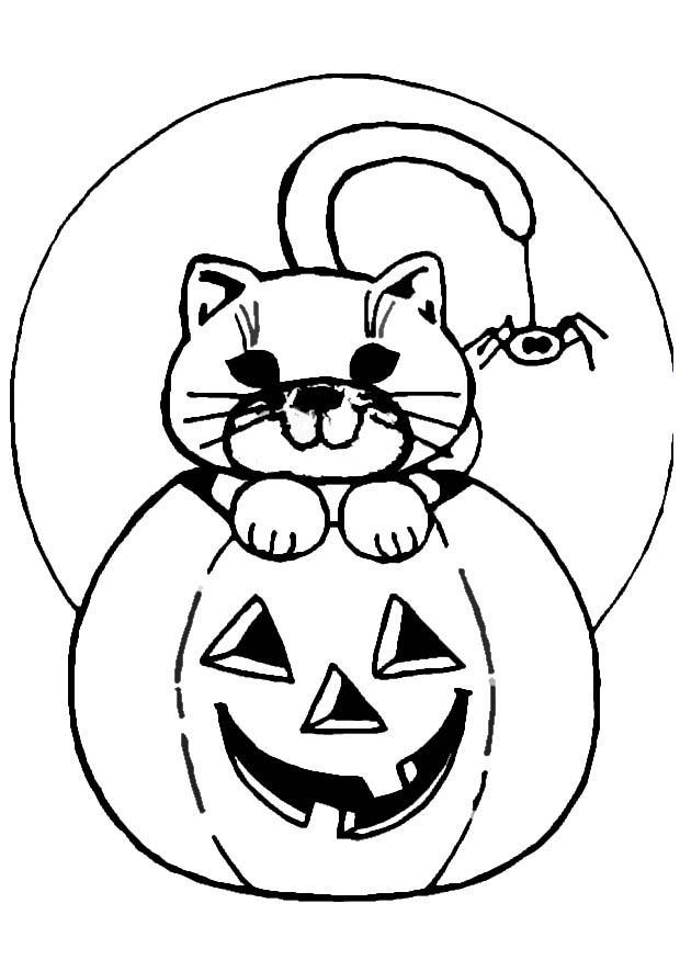 coloring page jack o lantern and cat img 8618 - Cute Jack Lantern Coloring Page