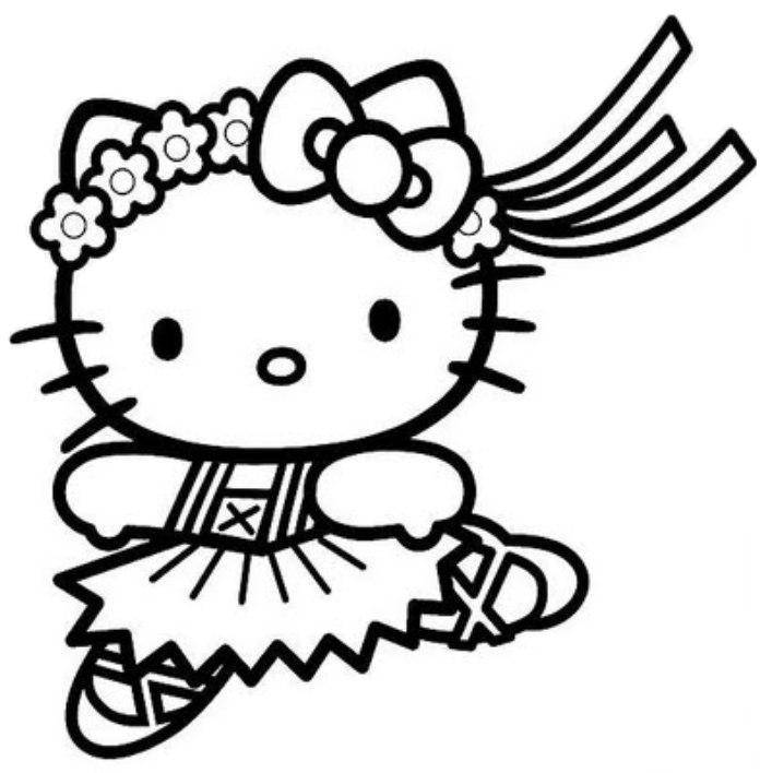 Print Hello Kitty Cute Ballerina Coloring Pages
