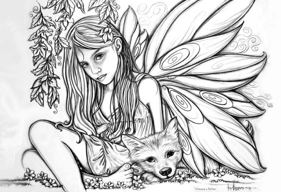 Advanced Coloring Pages Of Fairies : Fairy coloring pages for adults home