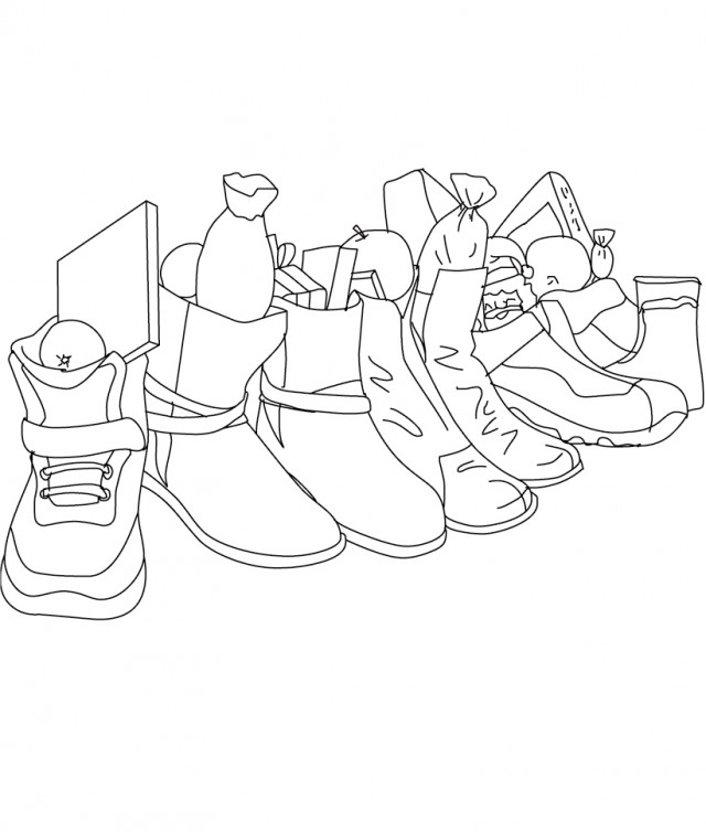 Christmas Gifts In The Shoes Coloring Christmas Coloring