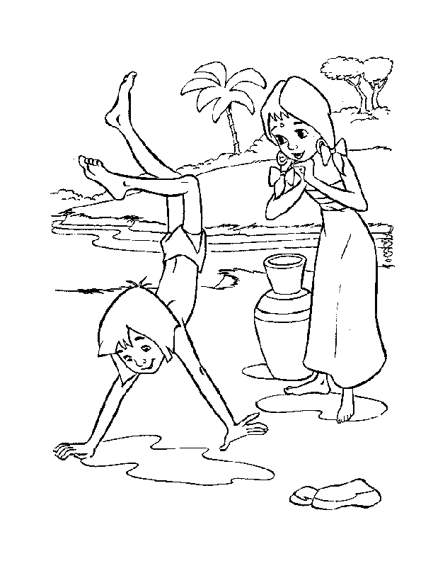 coloring pages - Cartoon » The Jungle Book (695) - Mowgli and Shanti