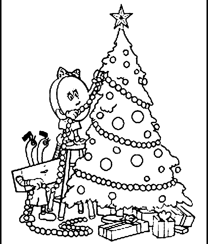 Drawing Of A Christmas Tree  Coloring Home