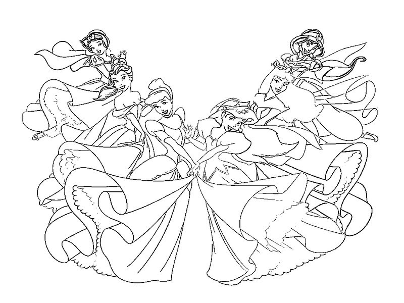 disney princess coloring pages together - photo#3