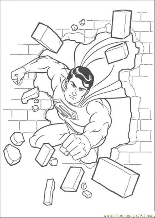 Coloring Pages Superman Has Damaged The Wall (Cartoons > Superman