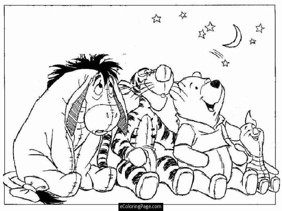 Winnie The Pooh Eeyore Tigger Piglet Printable Coloring Page