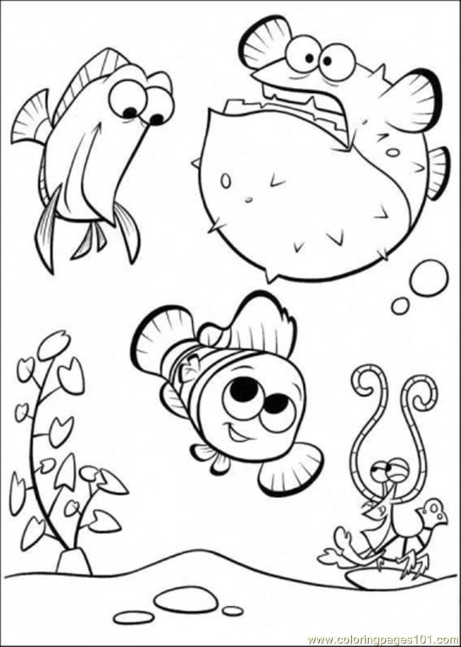 Coloring Pages Happy In Tank (Cartoons > Finding Nemo) - free