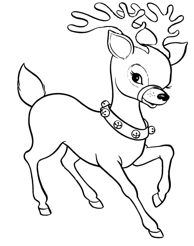Christmas Reindeer Coloring For Kids - Christmas Coloring ...