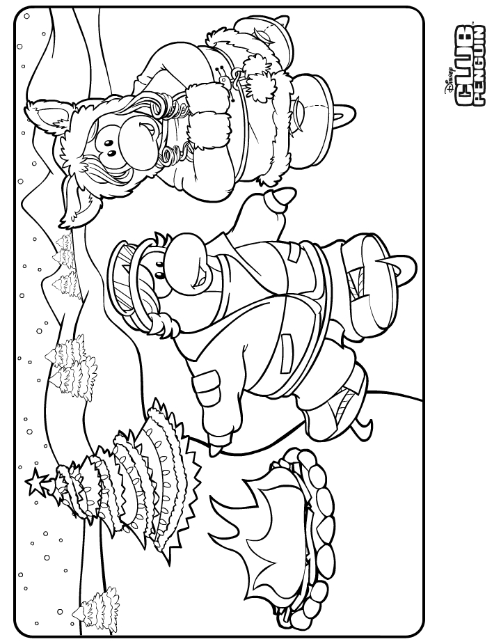 penguins ice skating coloring pages - photo#23