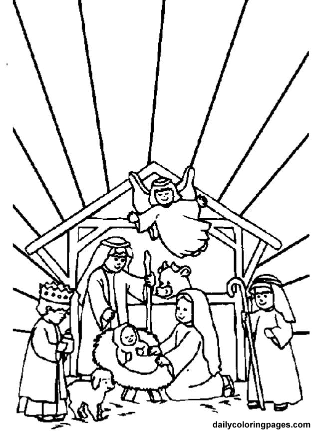 nativity scene coloring book pages - photo#4
