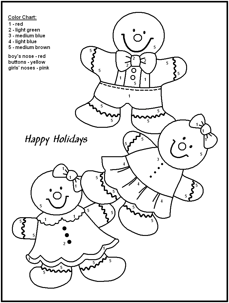 Color by number worksheets for kindergarten christmas for Printable color by number pages for kids