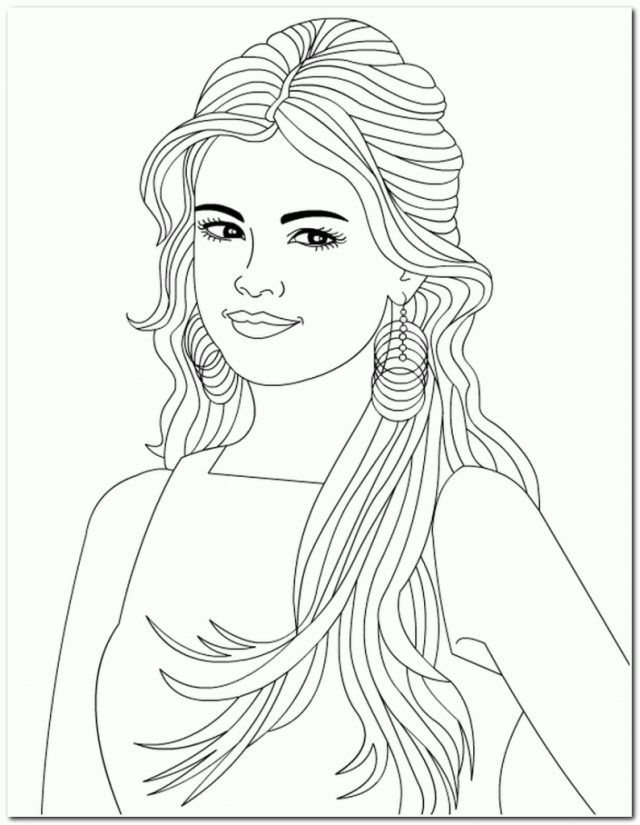 Long Hair Girl Coloring Pages Selena Gomez Easy Coloring 201219