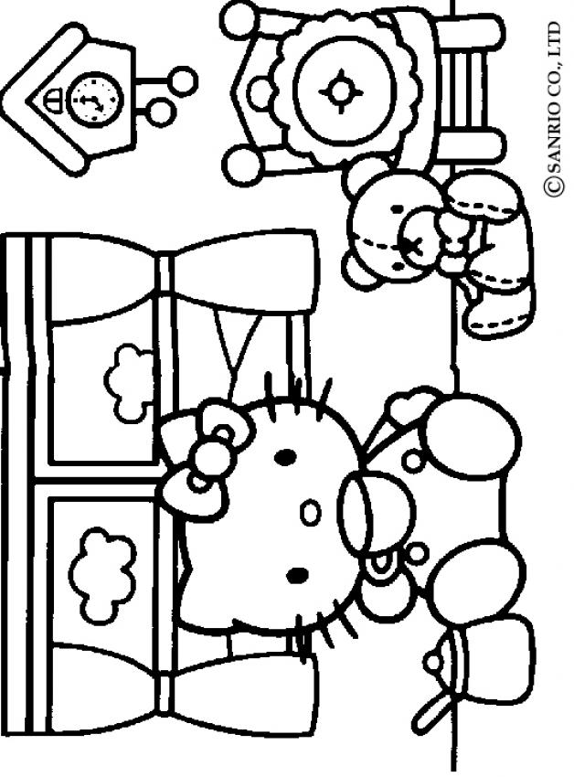 free hello kitty colouring pages
