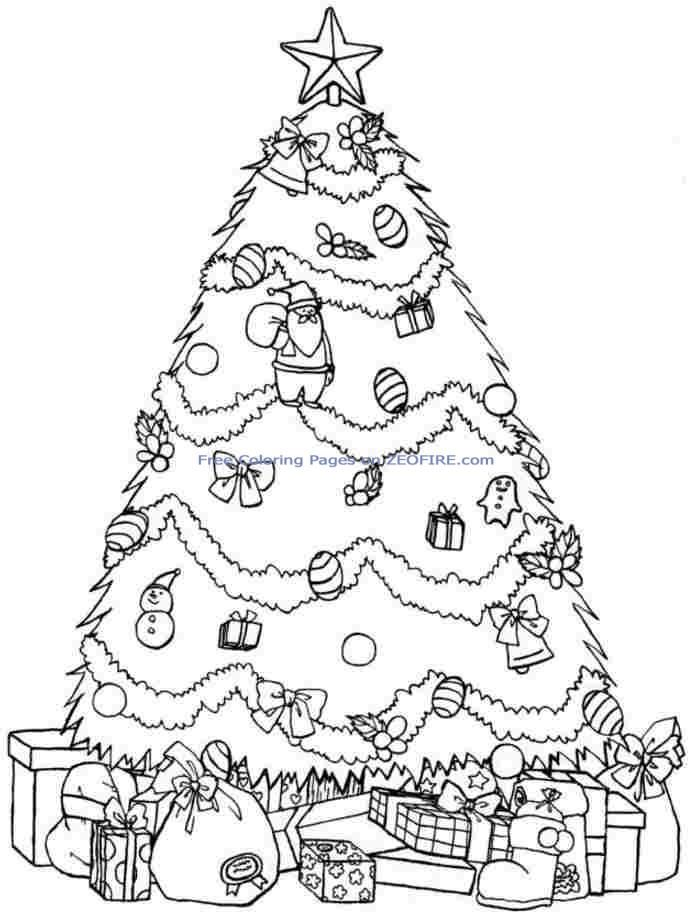 Printable Christmas Tree Coloring Pages For Kids & GirlsChristmas