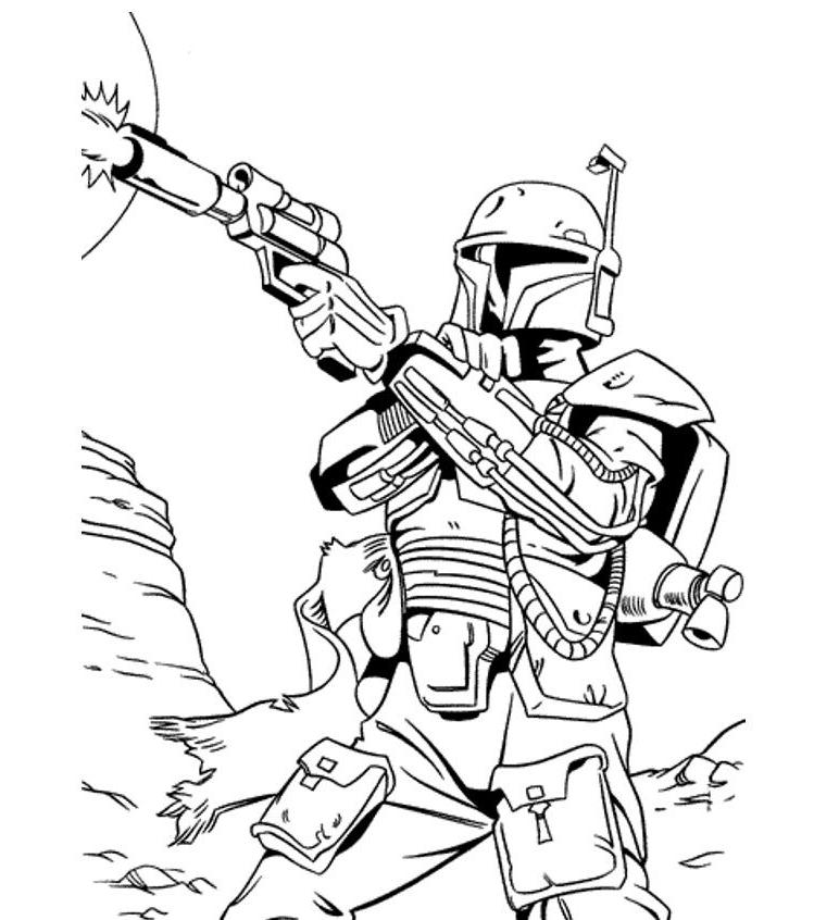 Print Star Wars Coloring Pages Bounty Hunter Or Download