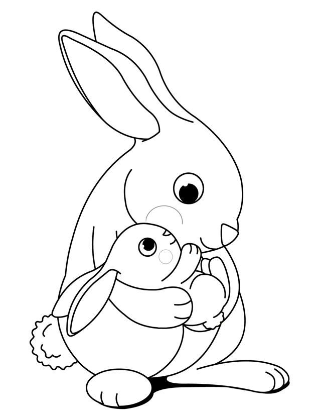 Hugging bunnies - Free Printable Coloring Pages