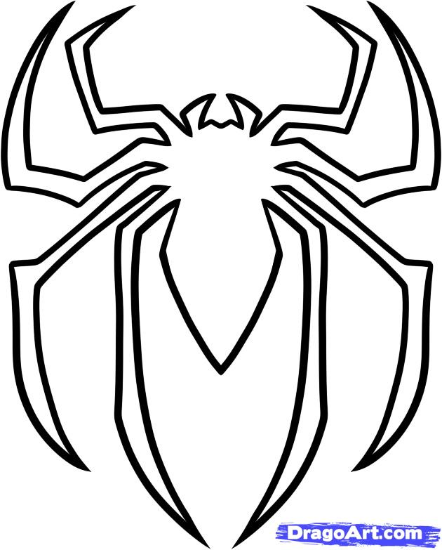 Spiderman Face Line Drawing : Spider outline az coloring pages