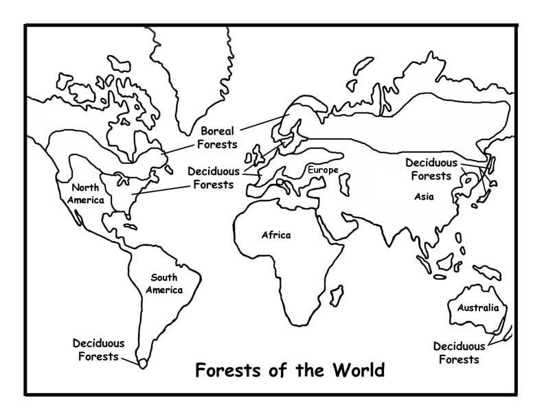World Map Coloring Page | Coloring Pages