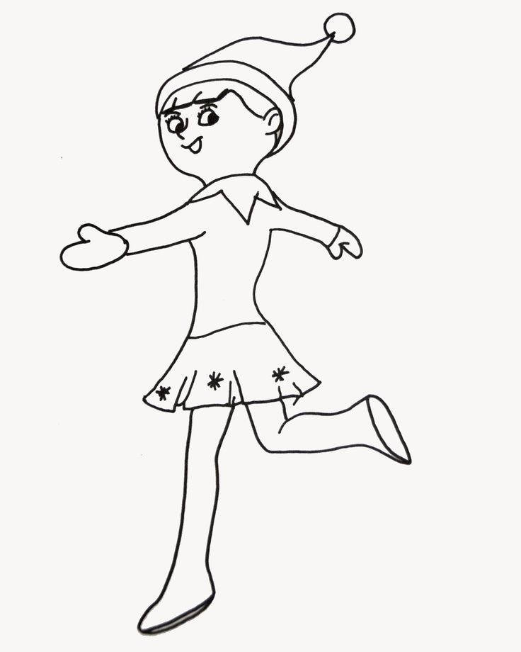 Elf Coloring Pages Pdf : Elf on the shelf coloring page az pages