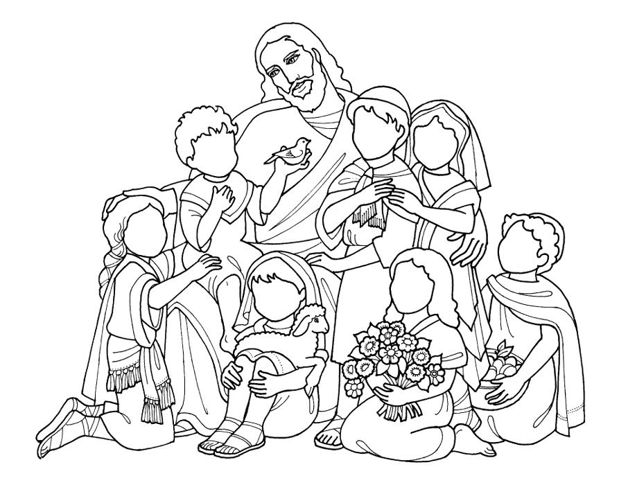 Jesus Loves The Little Children Coloring Pages Az Jesus And Children Coloring Page