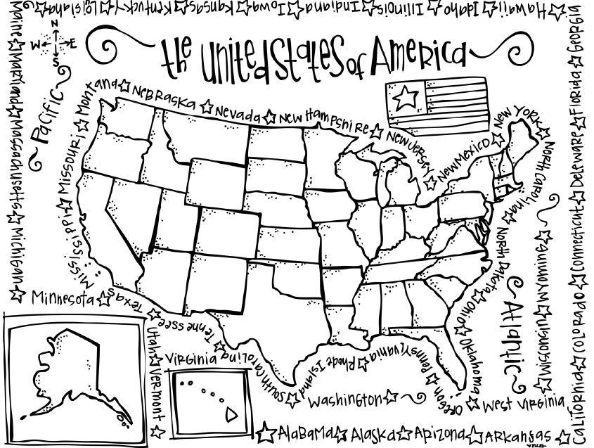 Coloring Pages United States Map Coloring Home Map Of United States Coloring Page