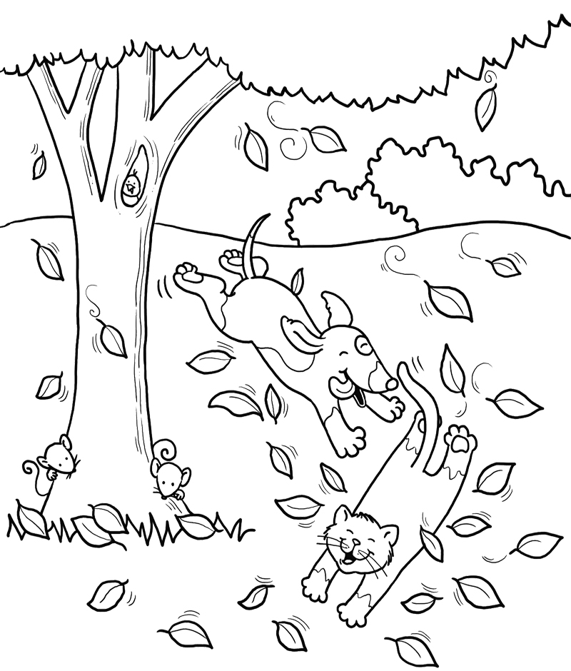Dog And Cat Coloring Pages AZ