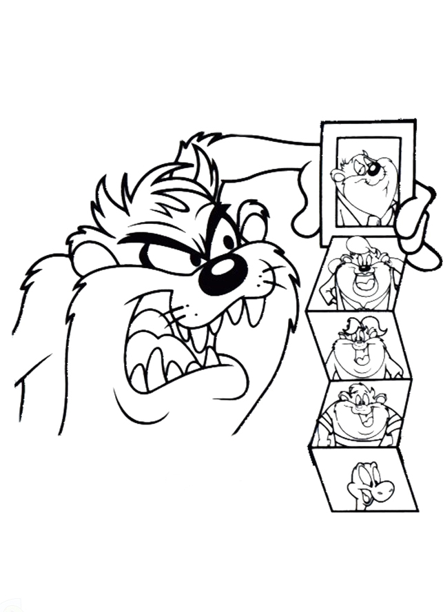 taz cartoon coloring pages - tasmanian devil looney tunes coloring pages