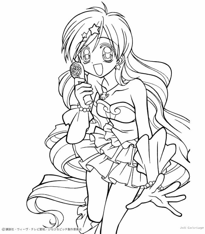 anime anime girl mermaid Colouring Pages