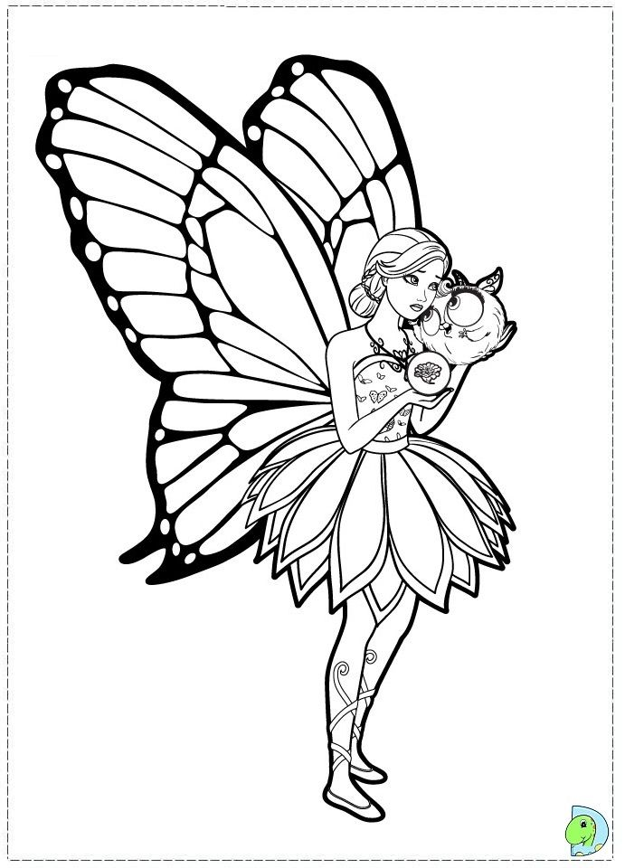 Barbie Mariposa And The Fairy Princess Coloring Page- DinoKids ...