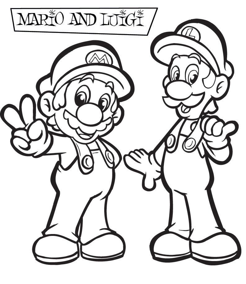 Mario Coloring pages - Black and white super Mario drawings for