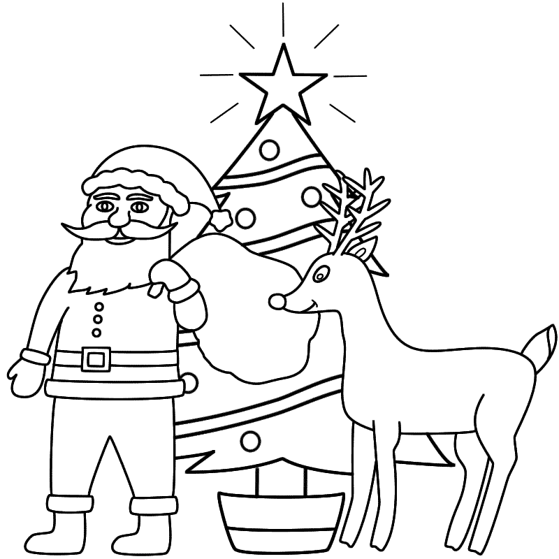 santa claus with rudolph and a christmas tree coloring page coloring home santa claus with rudolph and a christmas tree coloring page coloring home
