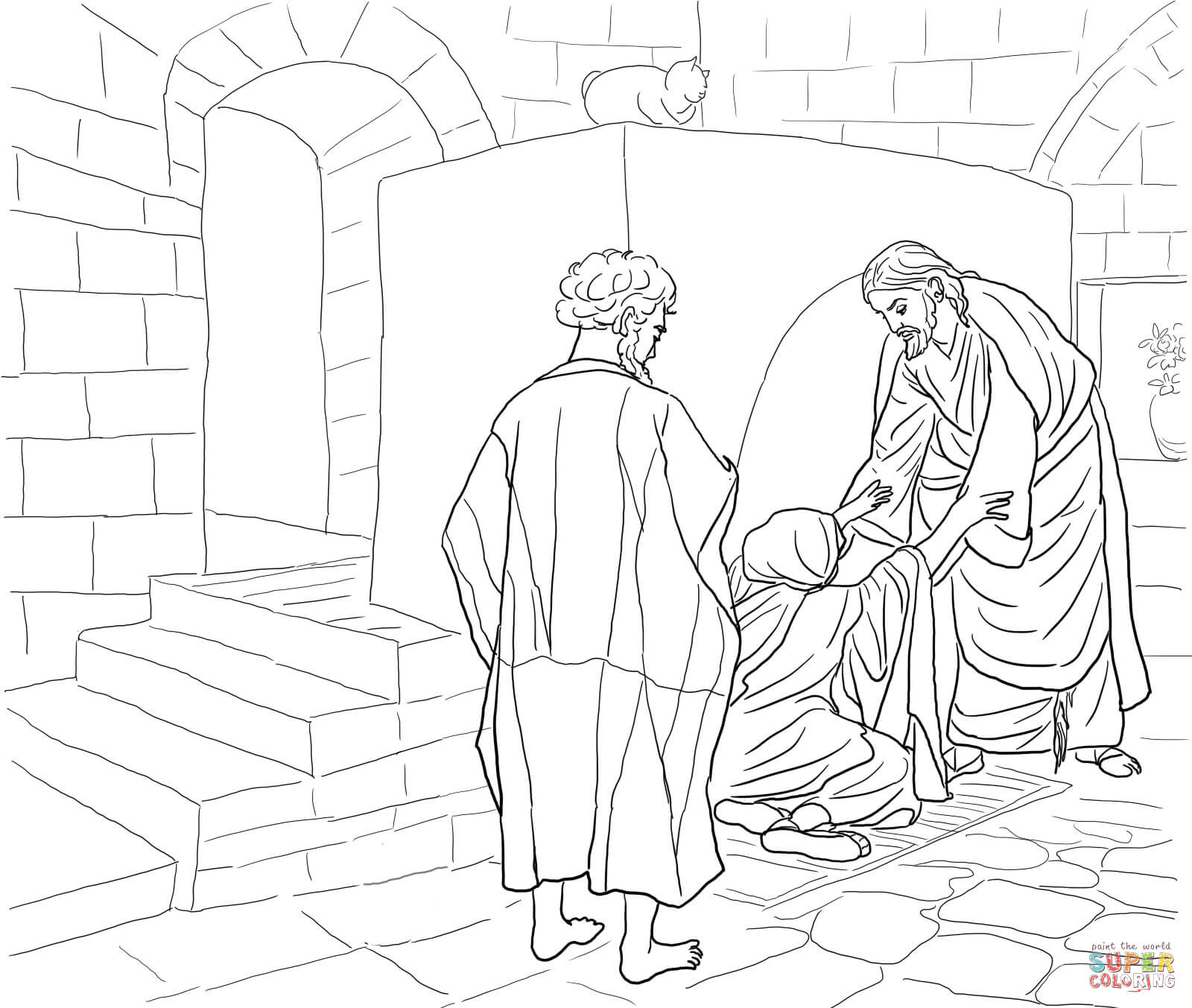 Peter In Prison Coloring Page - Coloring Home