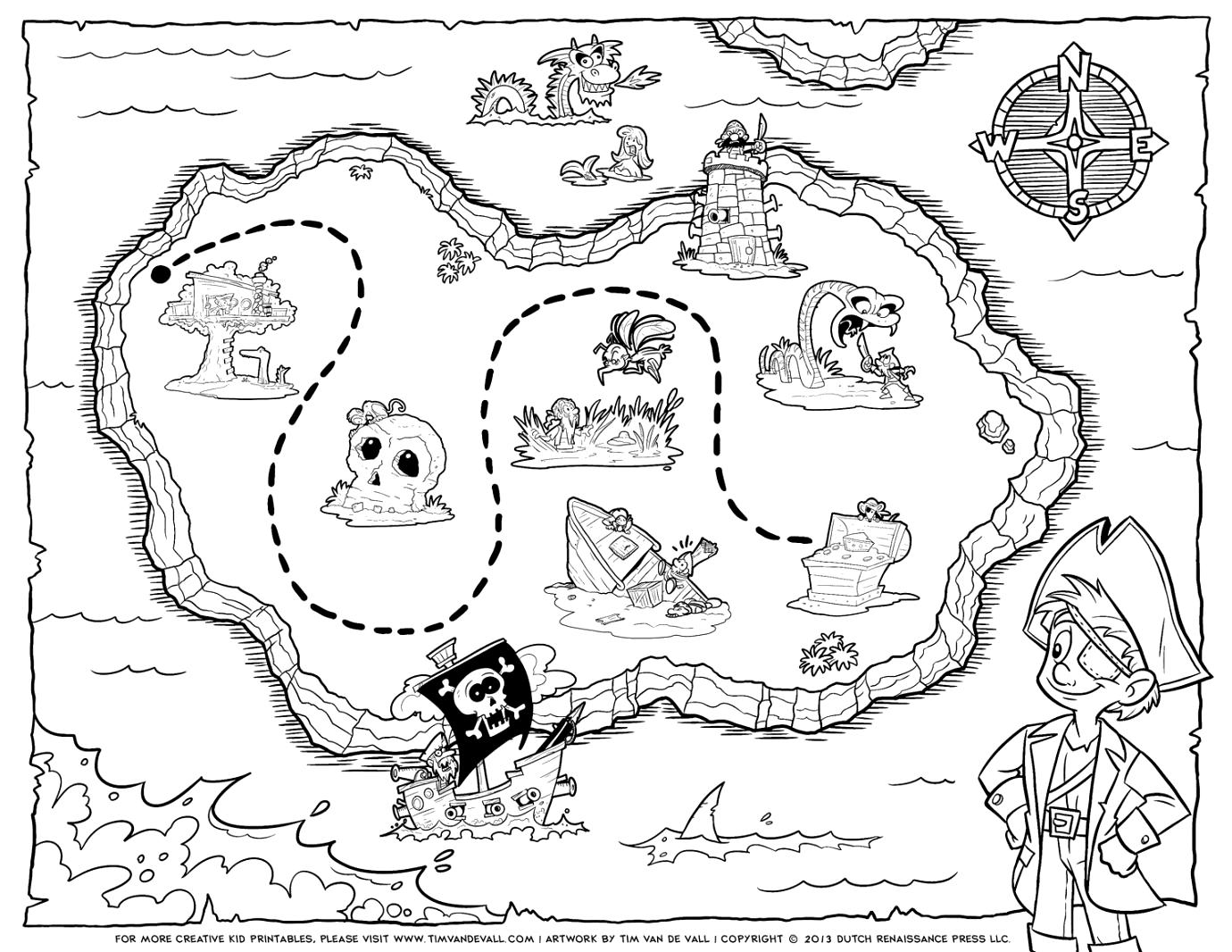 Pirate Treasure Map Coloring Pages Free Printable Earth Black And