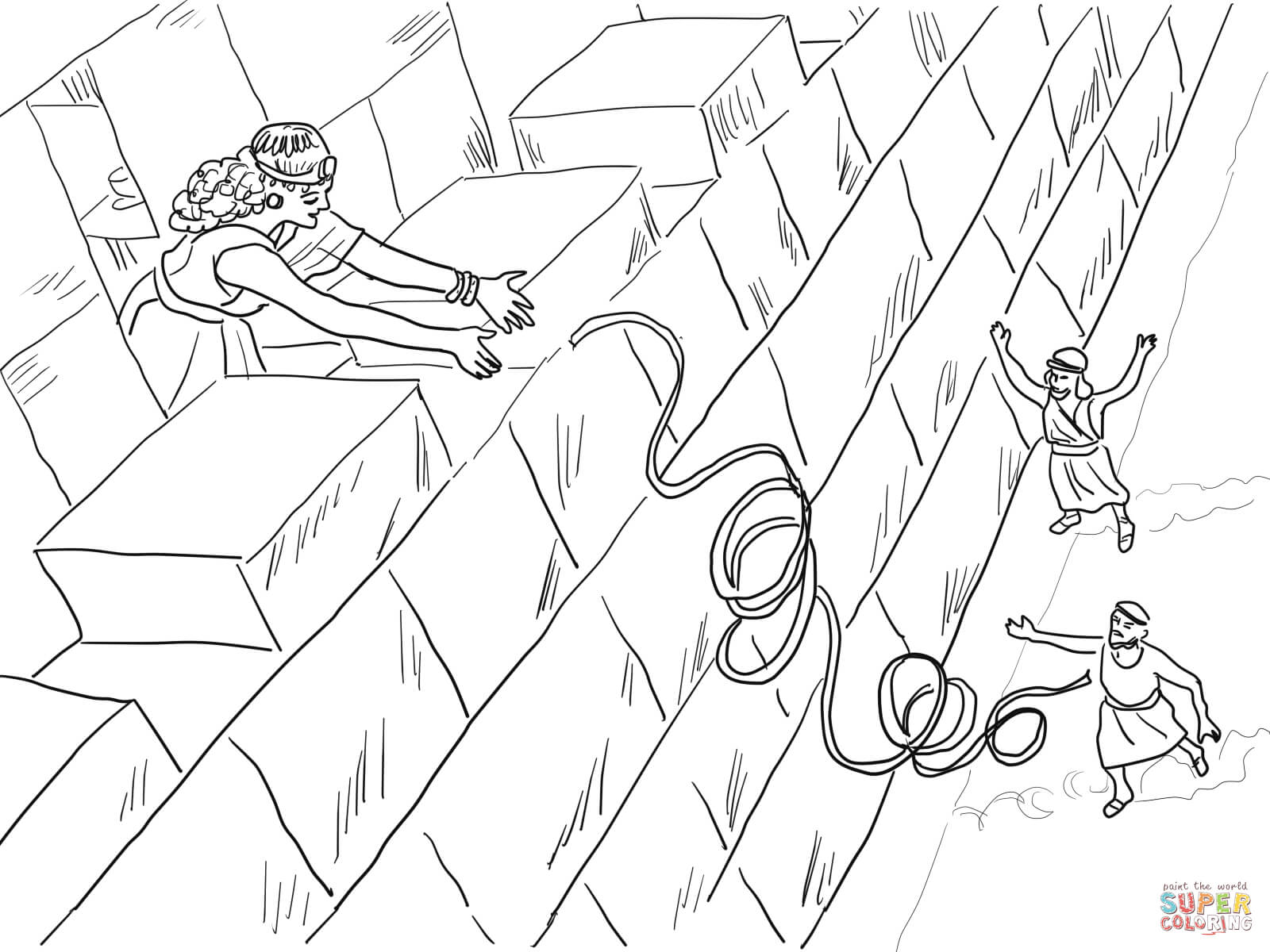 Bible Story Printables Crossing The Jordan Rahab Helps Spies Coloring Page