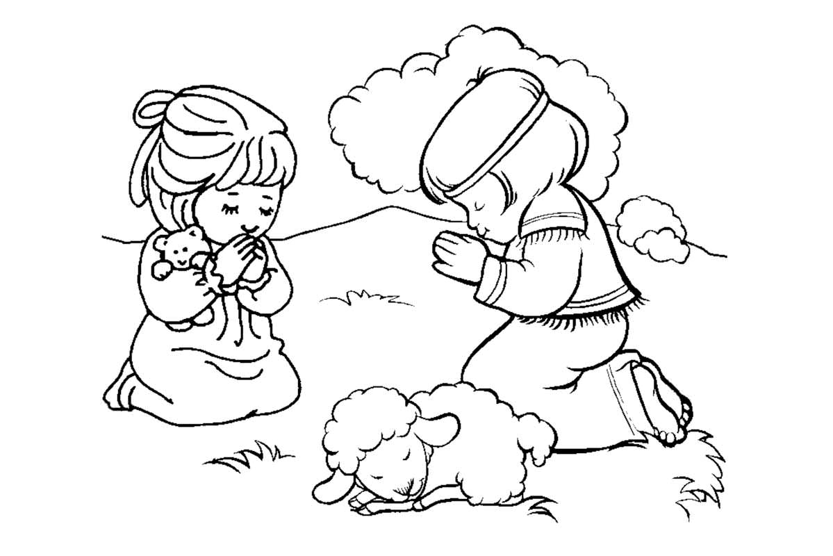 Child Praying Coloring Page - Coloring Pages for Kids and for Adults