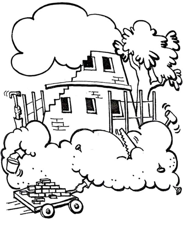 A Lot of Brick to Build the Tower of Babel Coloring Page | Kids ...